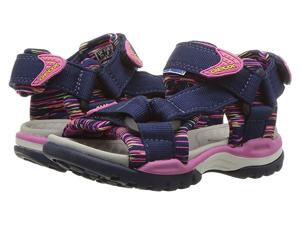 Geox Kids Borealis 7 (Toddler/Little Kid) (Navy/Fuchsia) Girl
