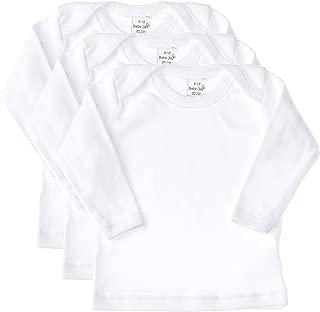 Baby Jay Long Sleeve Undershirt 3 Pack -White Cotton Baby T Shirt, Lap Shoulder