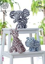 King Cole Yummy Knitting Pattern for Giraffe Hippo & Elephant Teddy Toys (9062)