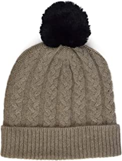 William Lockie Ladies Cashmere Cable Hat in Moondust with Black Faux Fur Pom Pom Made in Scotland