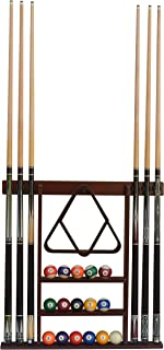 Flintar Wall Cue Rack, Stylish Premium Billiard Pool Cue Stick holder, Made of Solid Hardwood, New Improved Wall Mounting Hardware L Bracket Included, Cue Rack Only, Choose From Mahogany, Black or Oak