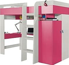 """Lit Mezzanine / Lit superposé """"MOBI"""" (matelas non inclus) Escalier devant. Ensemble pour enfants. Lit superposé, armoire, étagères, bureau. TOUT EN UN. Frêne/Rose"""