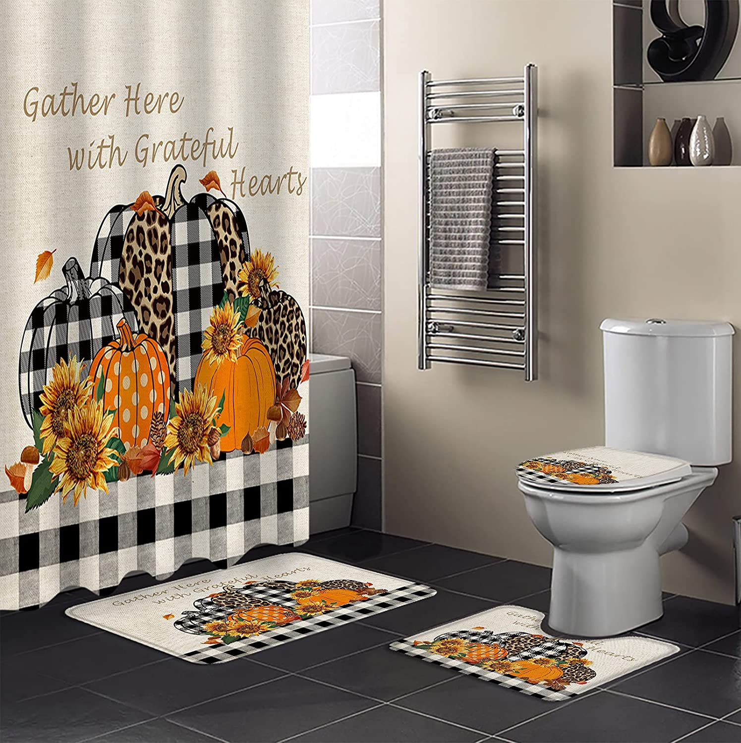 4 PCS Shower New product! New type Curtain NEW before selling Sets Waterproof Bathroom with Non-Sli