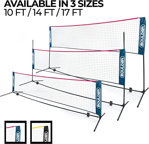 Boulder Portable Badminton Net Set - Net for Tennis, Soccer Tennis, Pickleball, Kids Volleyball - Easy Setup Nylon Sports Net with Poles - for Indoor or Outdoor Court, Beach, Driveway product image