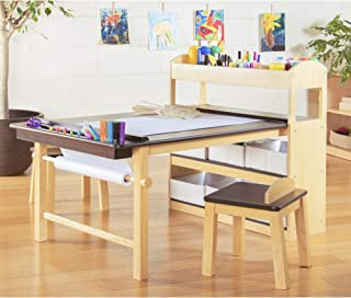 Guidecraft Deluxe Art Center: Drawing and Painting Table for Kids, W/ Two Stools, Craft Supplies Storage Shelves, Canvas B...