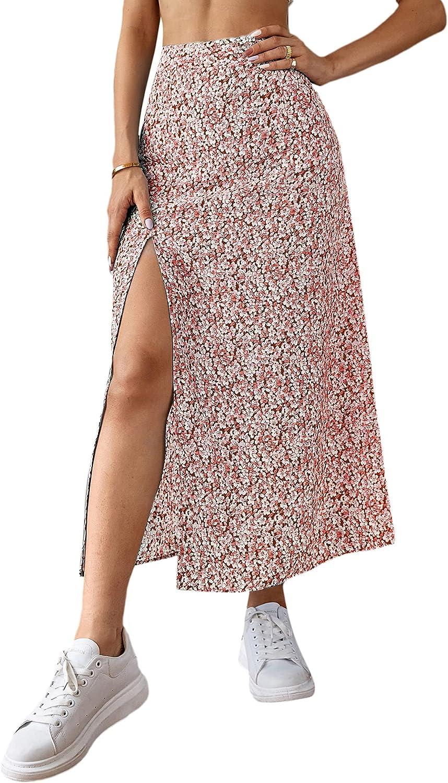 Milumia Women's Boho Floral Print High Waist High Side Split Maxi Skirt