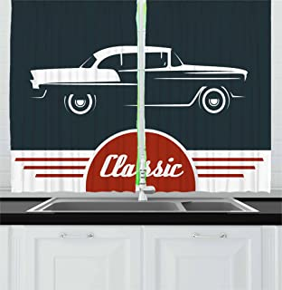 Ambesonne Retro Kitchen Curtains, Old Nostalgic Car Figure with Classic Typography Emblem Auto Icon Vintage Graphic, Window Drapes 2 Panels Set for Kitchen Cafe, 55W X 39L Inches, Indigo Ruby