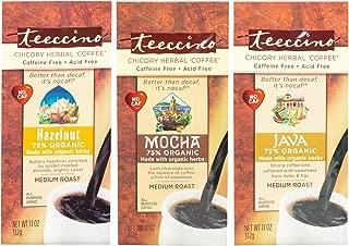 Teeccino Chicory Herbal Coffee Variety Pack (Java, Mocha, Hazelnut), Caffeine Free, Acid Free, Coffee Alternative, Prebiotic, 11 Ounce (Pack of 3)