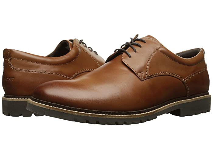 Rockport  Marshall Plain Toe Oxford (Cognac Leather) Mens Lace up casual Shoes