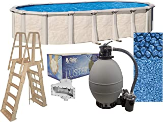 Lake Effect Fallston 18ft x 33ft Oval Above Ground Swimming Pool | 52in Height | Steel Sided Walls | Bundle Kit | Boulder Swirl Liner | A Frame Ladder | Filter Tank | 2 HP Pump | Skimmer
