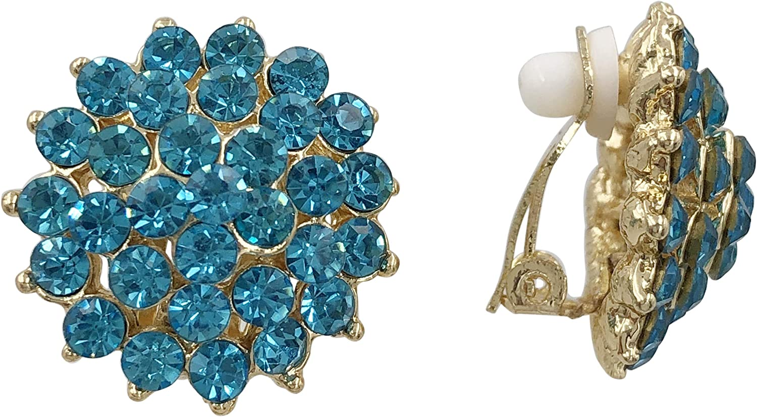 Round Rhinestone Dome Fancy Formal Prom Gold Tone Clip On Earrings - Assorted Colors