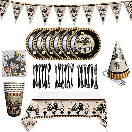 BlinBlin - Set da tavola per feste di compleanno di Harry Potter, 48 pezzi, ecologico, usa e getta, 6 articoli per feste per ospiti, cappello cucchiaio, coltello, forchetta, tovaglia, striscione