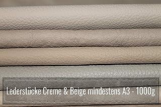 Restes de cuir A3 - 1 kg - Assortiment de couleurs beige crème (différents tonaux) - Pour bricolage et couture