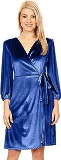 Womens Long Sleeve Velvet Wrap Dress with Belt - Made in USA