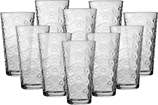 Circleware 40176 Cosmo Set of 10 Highball Tumbler Drinking Glasses, Heavy Base Ice Tea Beverage Cups Glassware for Water, Beer, Juice, 15.7 oz,