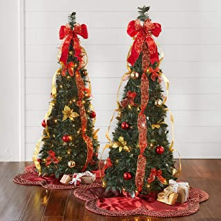 BrylaneHome Fully Decorated Pre-Lit 4 1/2' Pop-Up Christmas Tree - Red Gold