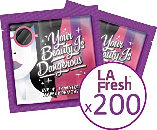 La Fresh Eco Beauty Travel-Friendly, Waterproof Makeup Remover Wipes, 200 Count of Individually Sealed Packets