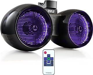 """Waterproof Marine Wakeboard Tower Speakers - 6.5"""" Dual Subwoofer Speaker Set and 1.0"""" Tweeters, LED Lights and 400 Watt Po..."""