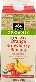 365 Everyday Value, Organic 100% Orange - Strawberry - Banana Juice, Calcium & Vitamin D (From Concentrate), 59 Fl Oz