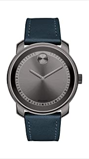Movado Mens' Grey Dial Blue Leather Watch - 3600673