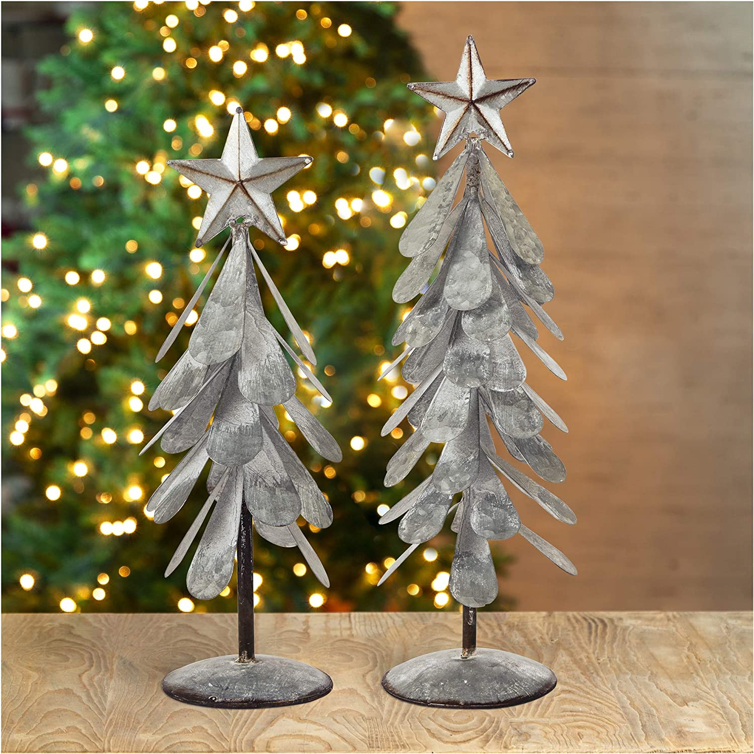 glitzhome Galvanized Metal Christmas Ornament Indianapolis Mall NEW before selling Display Tree Table