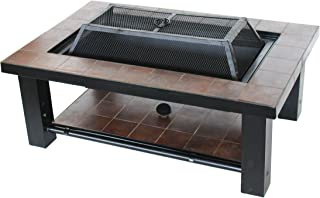 ALEKO FPT015 Rectangular Mosaic Tile Slated Steel Convertible Fire Pit Table with Poker and Lid 36 x 24 x 19 Inches Brown
