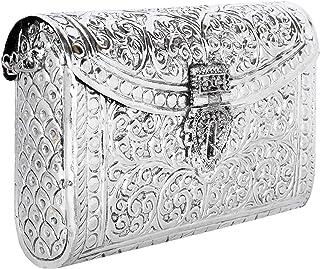 Silver Bridal Women's Antique Brass Purse Ethnic Handmade Metal Clutch Bag