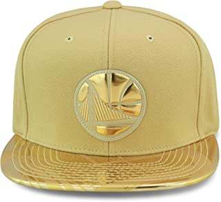 Mitchell & Ness Golden State Warriors Snapback Hat Cap Gold Foil (Patent Leather)