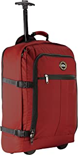 Cabin Max® Lyon Carry On Bag with Wheels - Very Lightweight at Just 3.7lbs 44L - Carry On Rolling Backpack with Wheels - Perfect Size for Many Major Airlines! 56x36x23cm (Oxide Red)