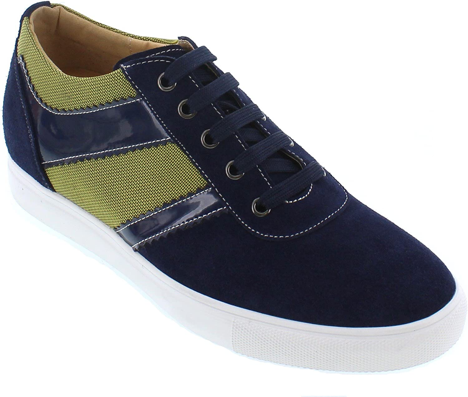 CALTO Men's Invisible Height Increasing Elevator shoes - Navy & Metallic Green Suede Mesh Lace-up Lightweight Fashion Sneakers - 2.4 Inches Taller - J9107