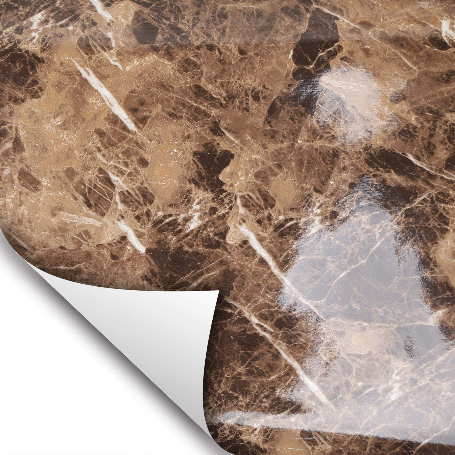 Marble Contact Paper Self Adhesive Glossy Worktop Peel Stick Wall Stickers /_ AU