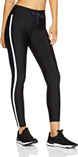 Lorna Jane Women's Yasmin Striped Full Length Tights, Black