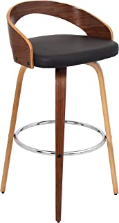 Lumisource Grotto Modern Barstool, Walnut/Brown