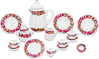 Zamonji Dollhouse Miniature Teapot Dishes Teacup Sugar and Creamer Set - 15pc 1/12 Scales Red Floral Pattern
