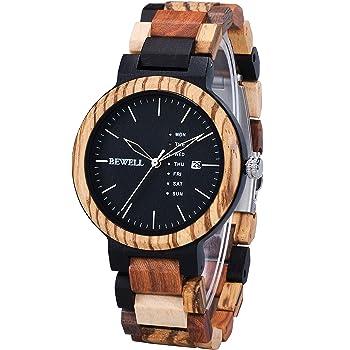 Bewell 木製腕時計 メンズ 日本製クオーツ 曜日 日付き アナログ表示 ファッション 復古 天然木腕時計 男性 プレゼント 贈り物 (混合木色)