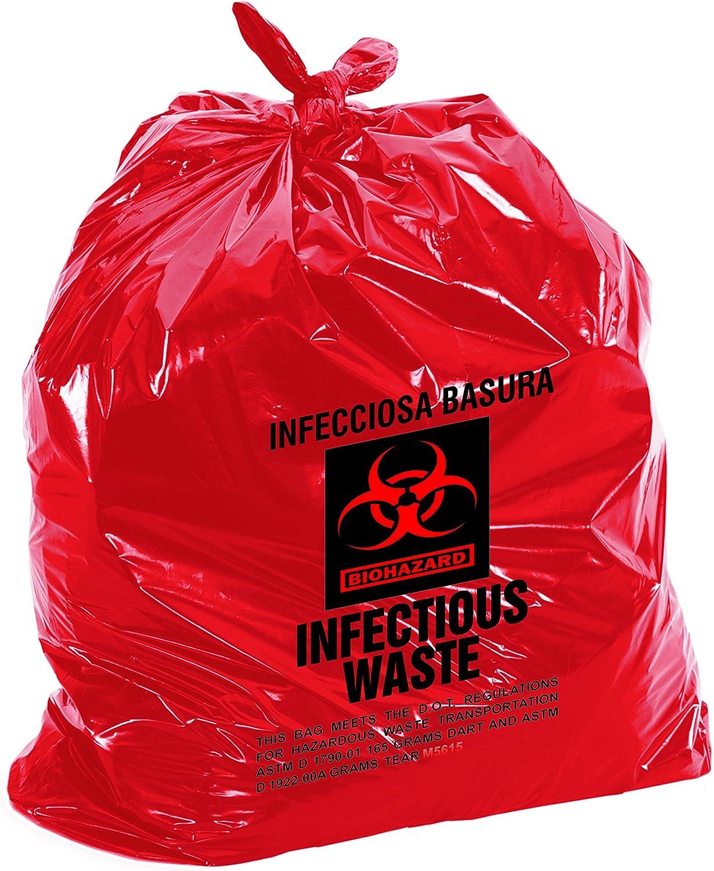 Medical Waste Bags 40x47, 40-45 Gallon, 100 Case, Heavy Duty 1.2 Mil