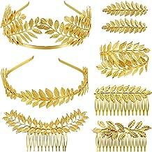 8 Pieces Goddess Greek Crown Jewelry Set Greek Headband Leaf Bracelet Wreath Leaf Headband Bridal Hair Comb for Wedding Tiara Costume Hair Accessories