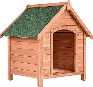 TecTake 403229 Caseta de Madera Maciza para Perro, Casa para Mascotas Animales, Construcción Resistente, Techo Extraíble, Ideal Exterior Interior Jardín, 72x65x83cm