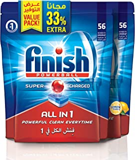 Finish Dishwasher Detergent Tablets, All in One Regular & Lemon, 56+56 (112 tablets)