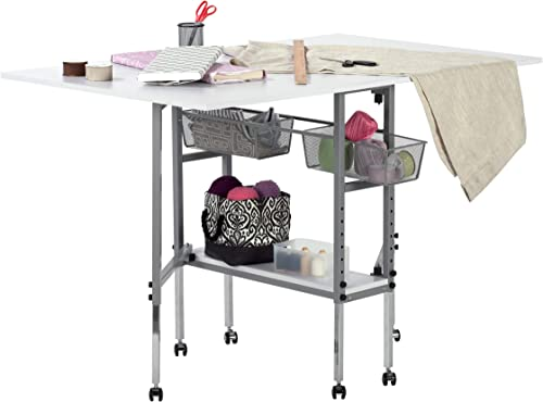 Studio Designs Sew Ready Mobile Height Adjustable Hobby and Craft Cutting Table with Drawers in Silver/White (13374)