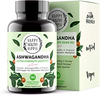 Ashwagandha 2100mg � Fast Superior Absorption � 100% Pure, Potent Organic Ashwagandha Root Powder and Black Pepper - Powerful Natural Stress Relief Supplement - Mood Adrenal Cortisol Anxiety, 90
