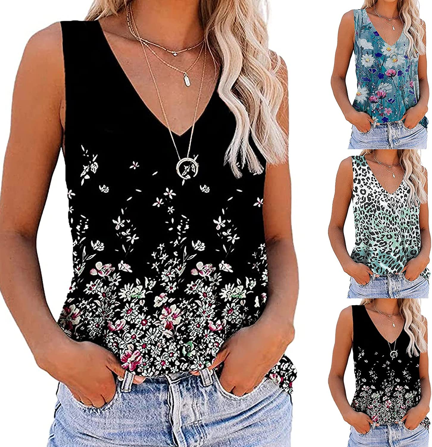Womens Summer Tops Sexy, Tank Top for Women Fashion Stripe V Neck Sleeveless Vest T Shirts Casual Comfy Tunic Blouses