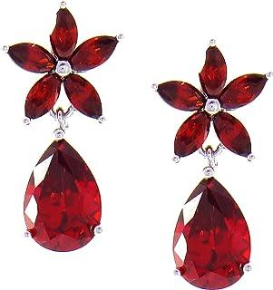 Pendientes Flor de Primavera. Diseño de joyería clásica. Con cristales de colores brillantes. Incluye una caja para regalo
