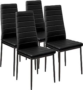 TecTake Lot de Chaise de Salle à Manger 41x45x98,5cm - diverses Couleurs modèles au Choix - (4X Noir   No. 401843)