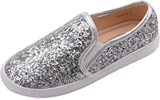 Mila Lady Cornelia Comfortable Casual Sparkly Glitter Slip On Fashion Sneakers for Women Silver Size: 10