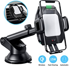Wireless Car Charger Mount,CNSL Patent Auto Clamping QI 15W Fast Charging Metal Motor Phone Holder with Strong Suction,Air Vent Windshield Dashboard Stand,Compatible with iPhone 11/XR/XS,Samsung S9/S8