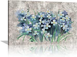 Bedroom Decor Canvas Wall Art Grey Blue Theme Flower Painting for Bathroom Pictures Wall Modern Home Retro Rustic Wall Decoration Artwork For Living Room Wall Decor Framed Ready to Hang - 12