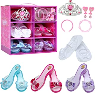 Girls Princess Dress up Shoes Role Play Collection Shoes Set with Pink Princess Tiara Earrings and Bracelet