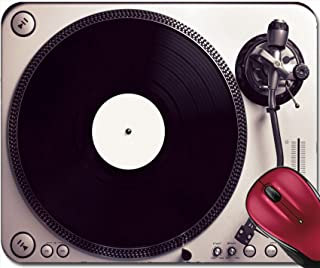 Liili Mousepad Old Good Looking Turntable Playing a Track from Black Vinyl Top View Vintage Cross Processing 29283613