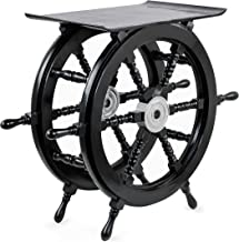 Pirate's Black Nautical Handcrafted Wooden Stool | Home Decor Ship Wheel Table Furniture | Nagina International (Small)